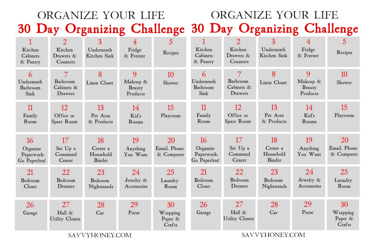 30 Day Organizing Challenge To Declutter Your House Amp Life
