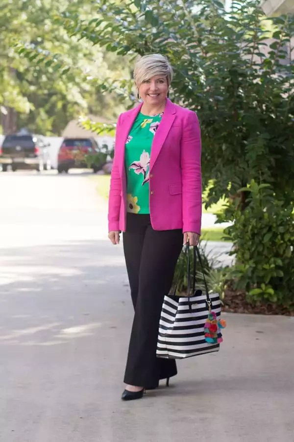 9 to 5 style, summer brights, summer office outfit, striped tote, pink blazer outfit