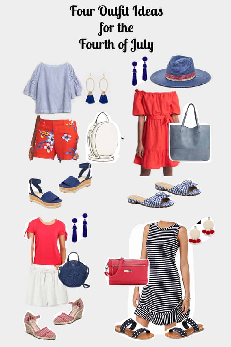Four cute outfit ideas for the Fourth of July, red, white and blue outfits, summer fashion