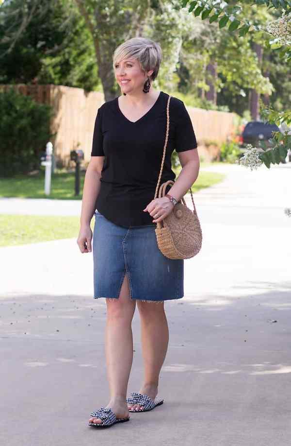 denim skirt outfit, womens summer outfit,