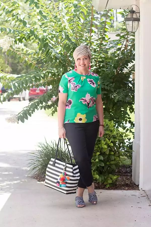 ankle pants outfit, gingham mules, green floral top