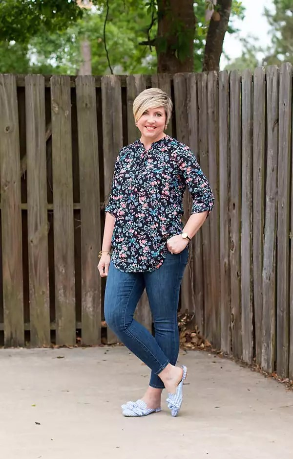 floral tunic and gingham mules