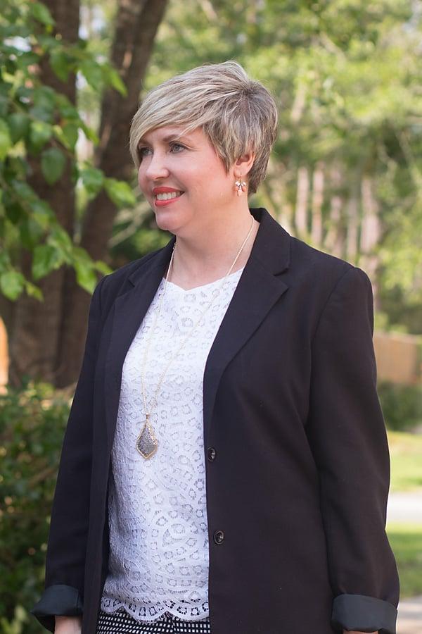 lace top, long pendant necklace, Kendra Scott, black blazer