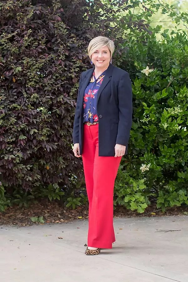 leopard pump outfit with red pants
