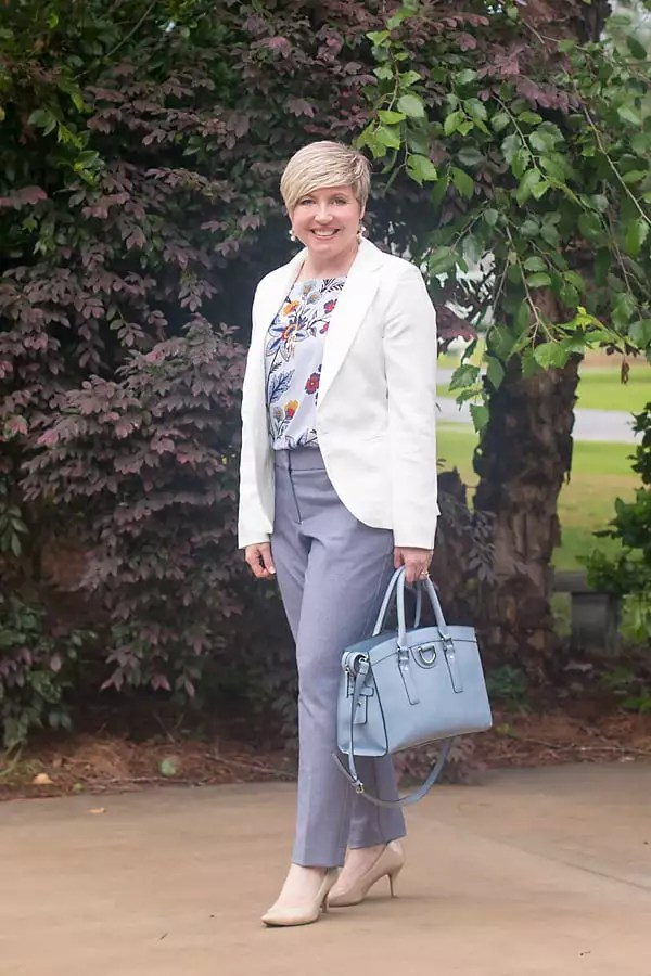 all new, Loft pants, floral top, blazer, work wear