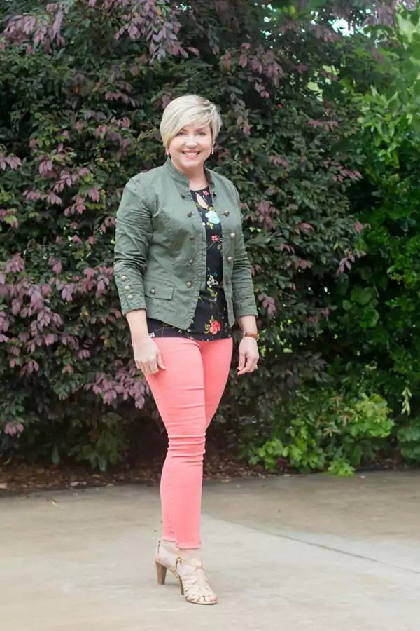 olive jacket, coral jeans, floral top, nude sandals, spring outfit, womens fashion