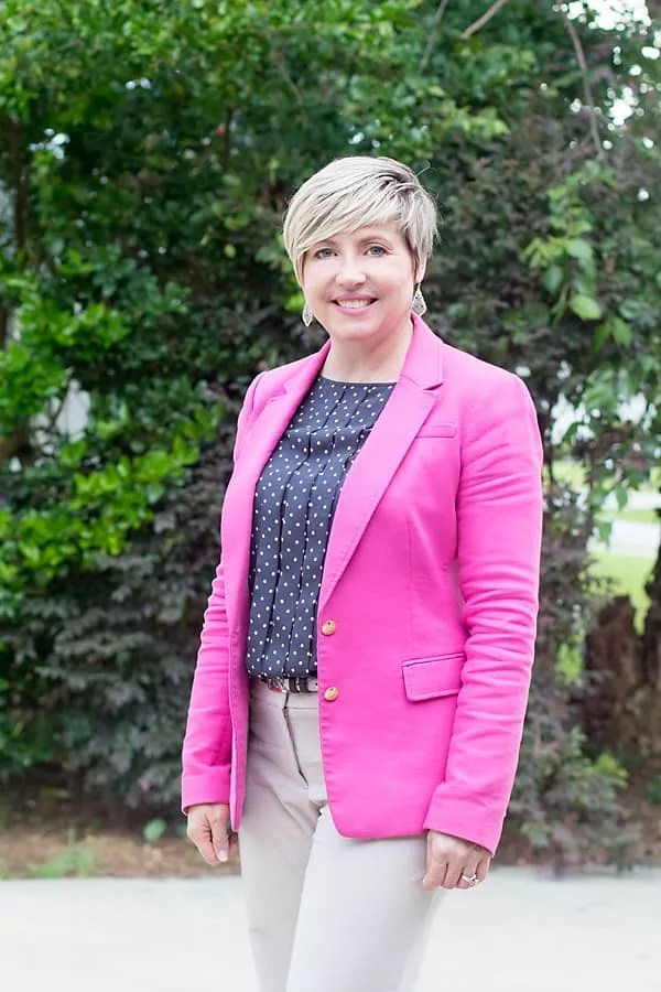 office chic, office outfit, hot pink blazer