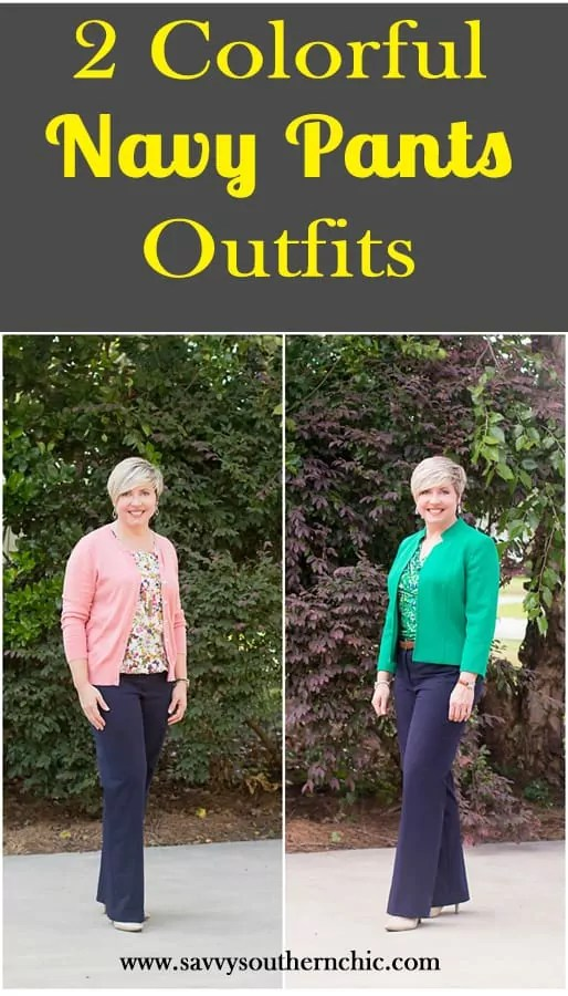 two navy pants work outfits
