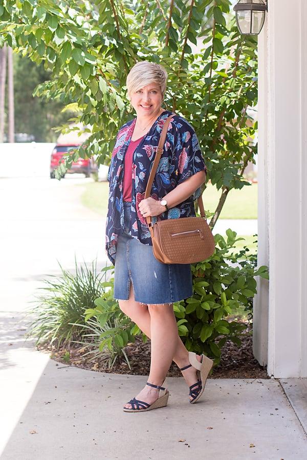Denim skirt for fall transitioning