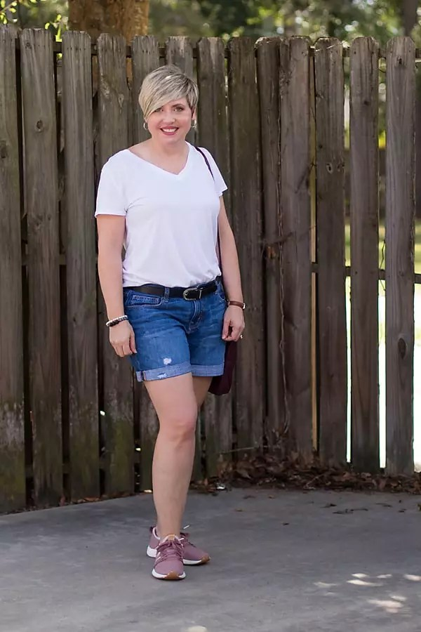 white v-neck tee outfit