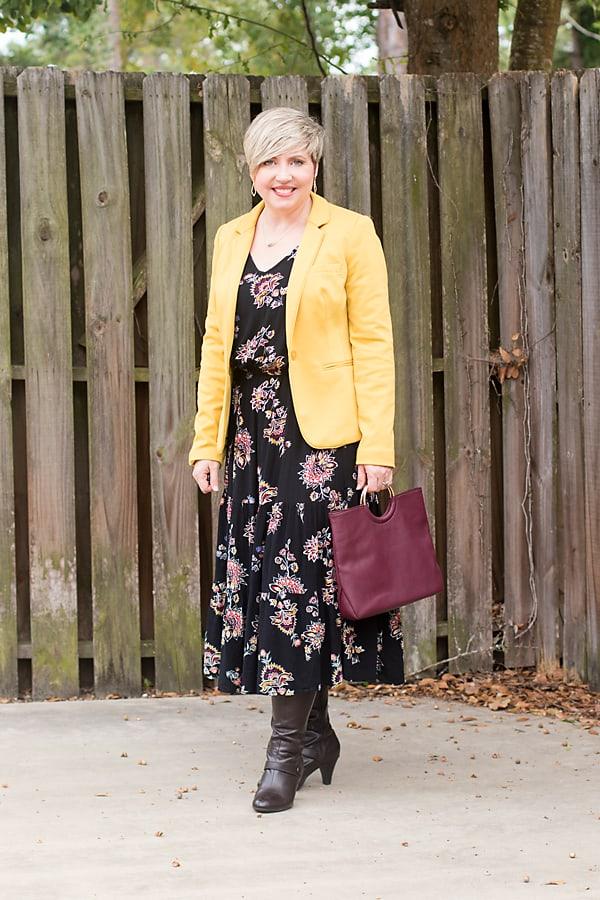 blazer with dress, fall dress