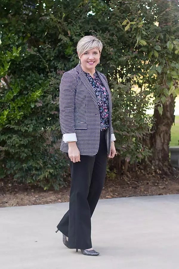gingham blazer office outfit