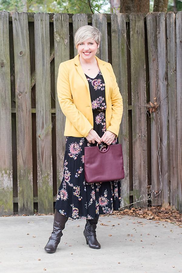 mustard blazer, midi dress, fall outfit