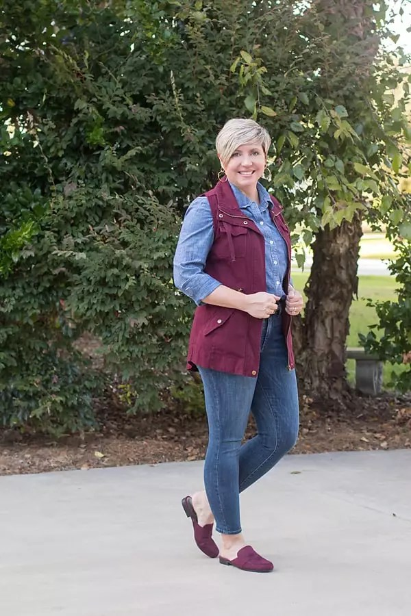 chambray and denim, utility vest