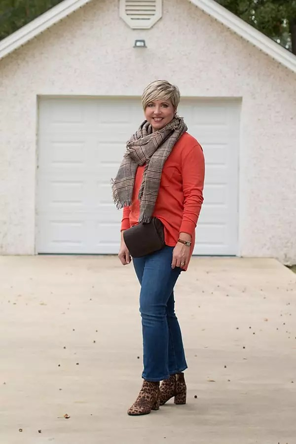 fall trends, plaid scarf, leopard ankle boots