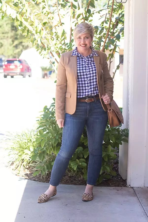 gingham blouse, camel blazer outfit, fall outfit