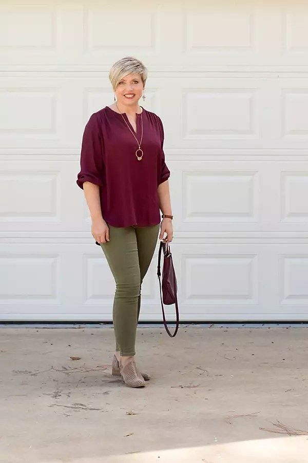 olive jeans, taupe ankle booties