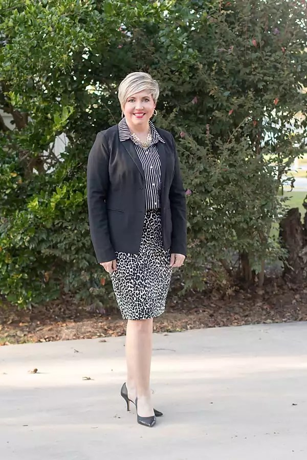 leopard pencil skirt, womens office outfit, black blazer
