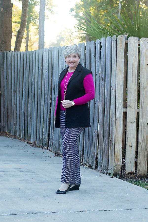 fuchsia for fall, fuchsia sweater, fall outfit
