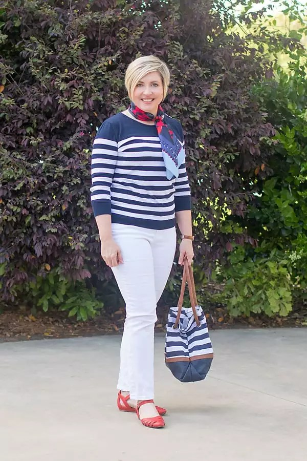 navy striped sweater with white jeans