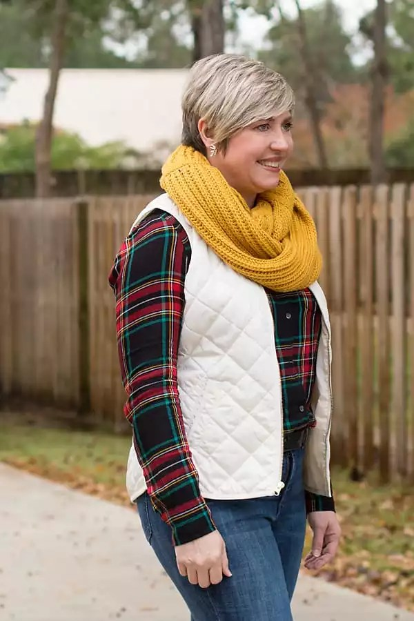 vest, plaid shirt and infinity scarf