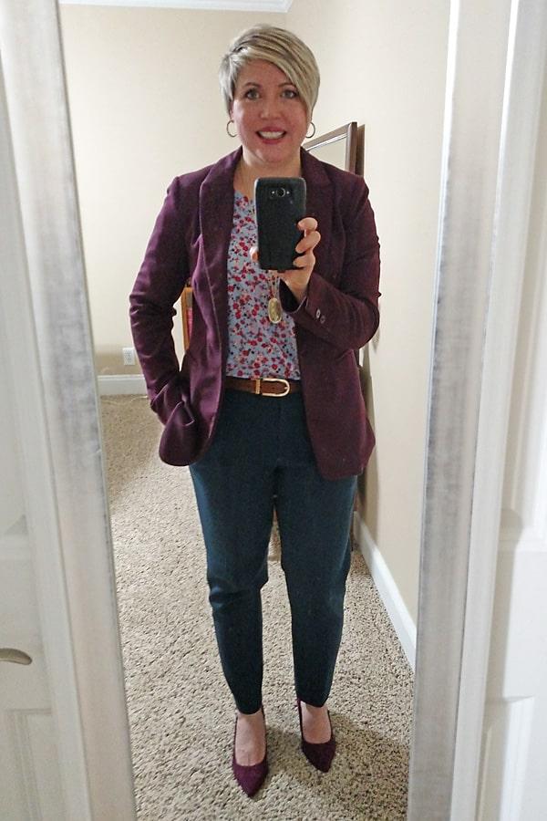 ankle pants, burgundy blazer, work wear
