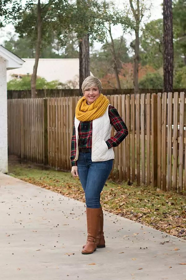 Savvy Southern Chic in quilted vest and plaid shirt