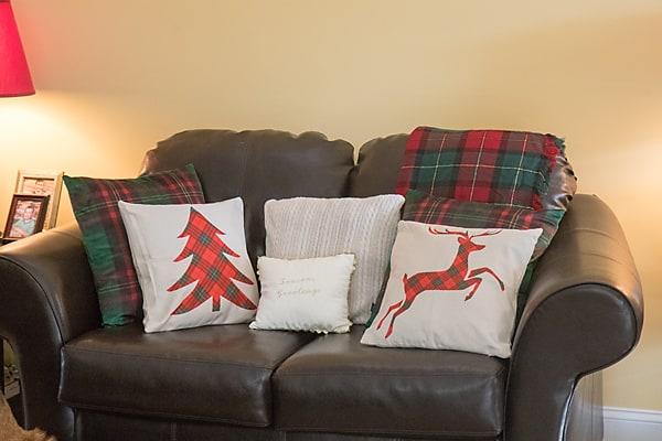 plaid Christmas pillow covers, Christmas decor