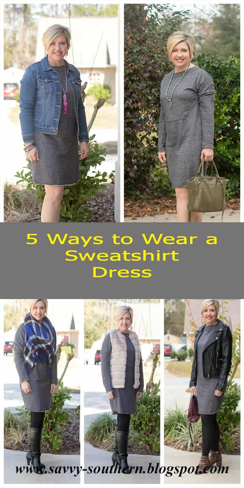 sweater shirt dress styled five ways, winter outfit