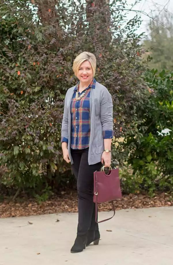 grey cardigan with blue plaid shirt