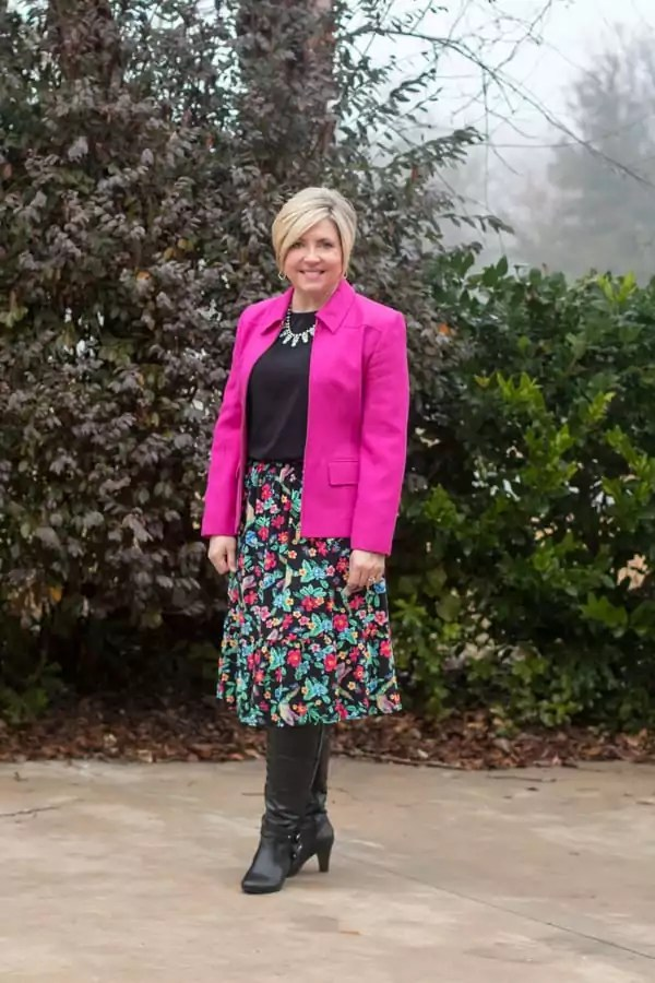 Pink cropped blazer with floral skirt