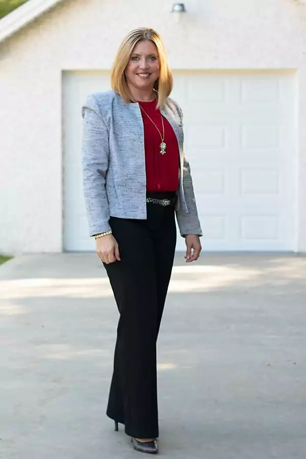 red grey and black office outfit