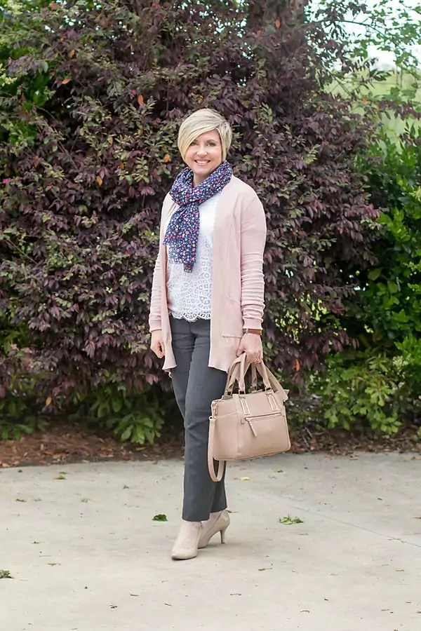 Blush cardigan with lace top and grey ankle pants