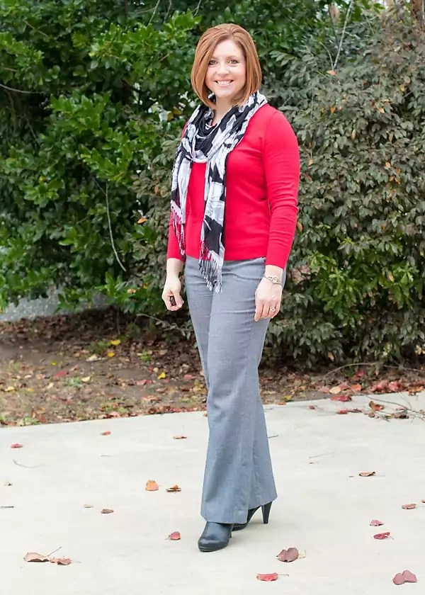 grey and red office outfit