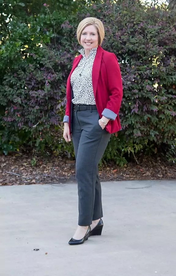Red blazer with snow leopard top