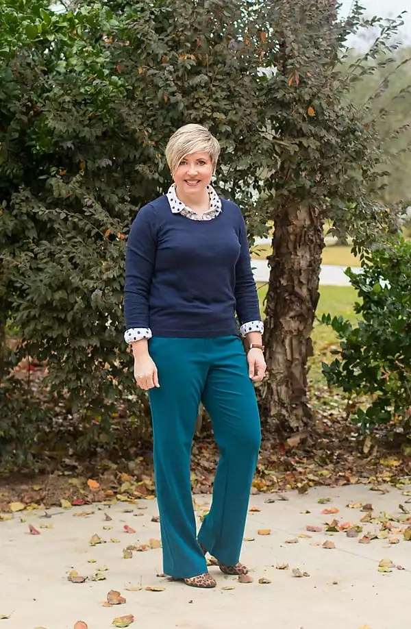 navy sweater, polka dot top, teal trousers, womens office attire