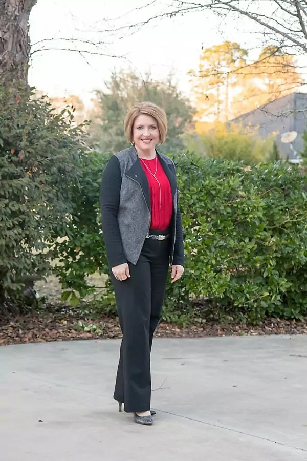 moto jacket blazer with red top and black pants