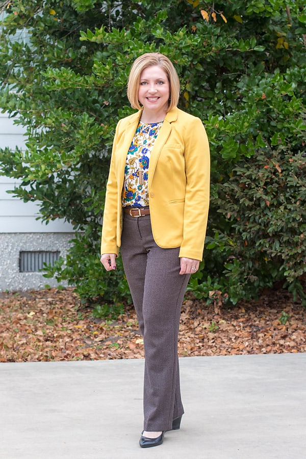 chocolate brown pants and mustard blazer office outfit