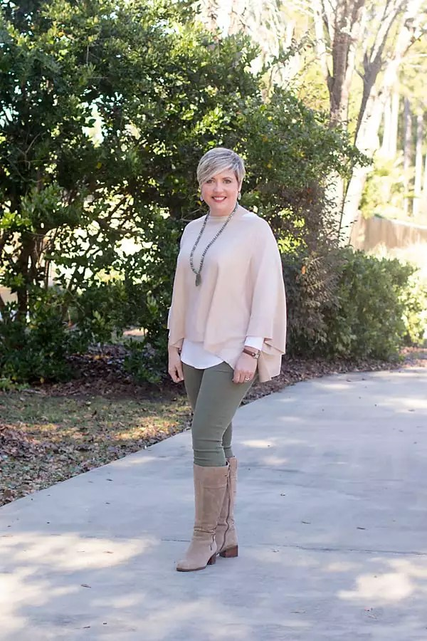 tall taupe boots with poncho and olive jeans