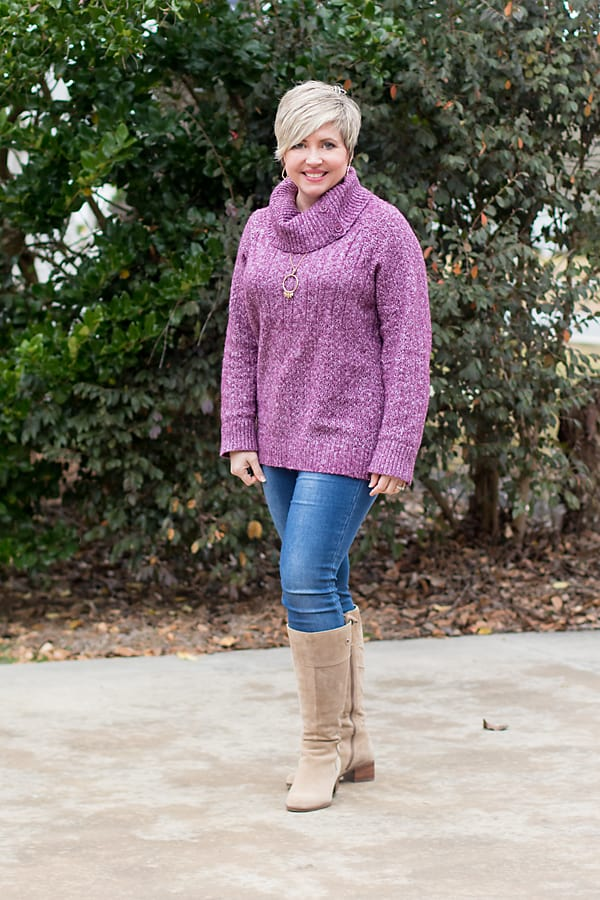 tall suede boots with tunic sweater