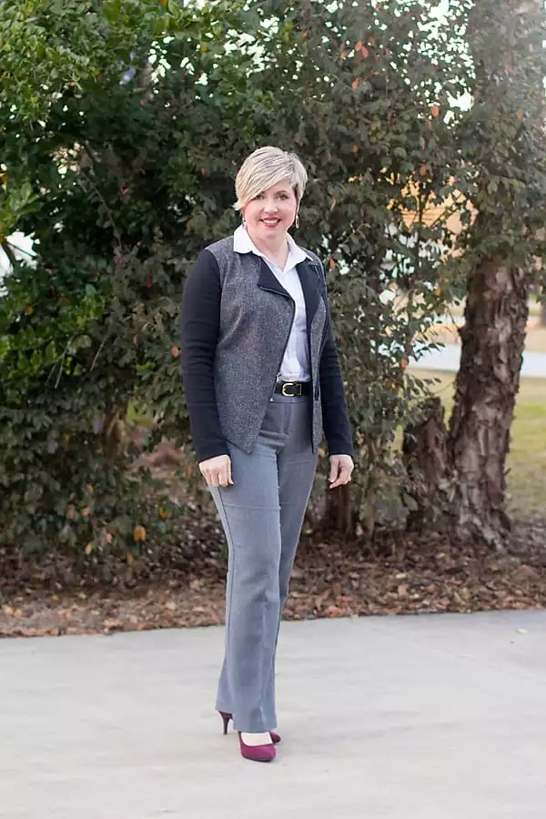 womens office outfit featuring moto style jacket