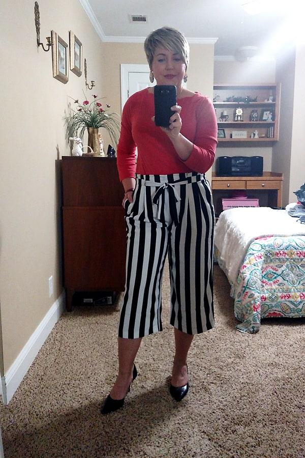 striped wide leg crop pants