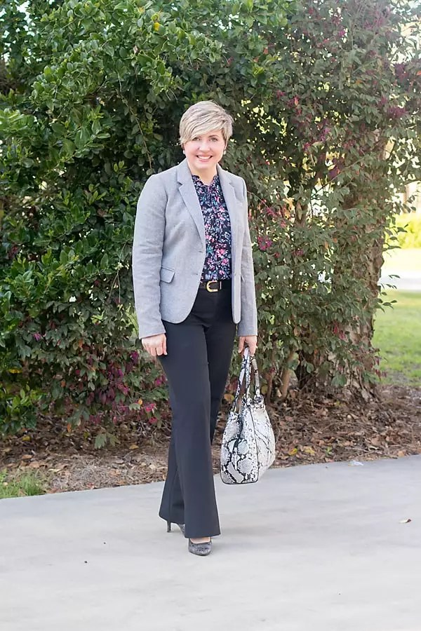 grey black and floral office outfit
