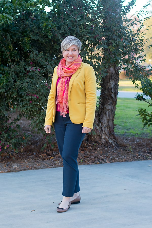 mustard blazer with hot pink sweater office outfit