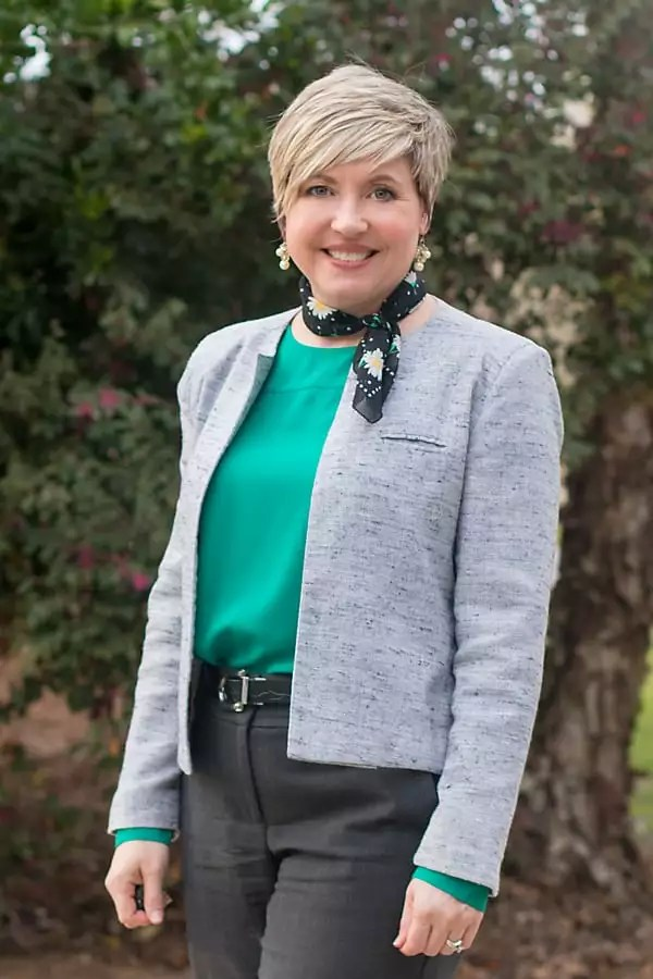 daisy neck scarf with emerald green boatneck blouse