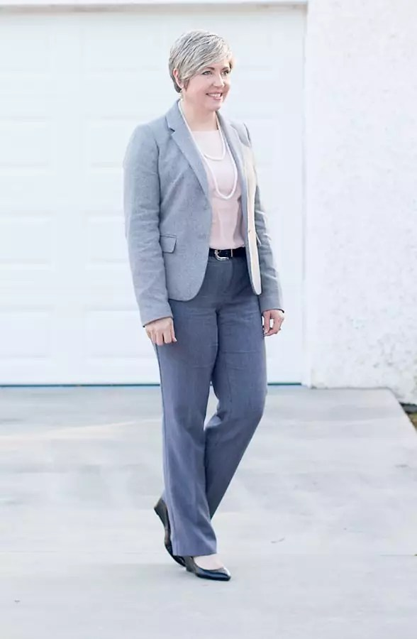 grey blazer with blush blouse and glen plaid pants