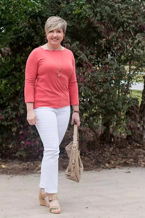 white jeans and bright top spring outfit