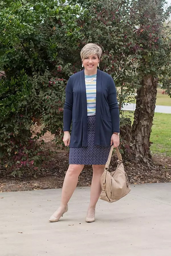 cardigan with striped tee and print pencil skirt spring outfit