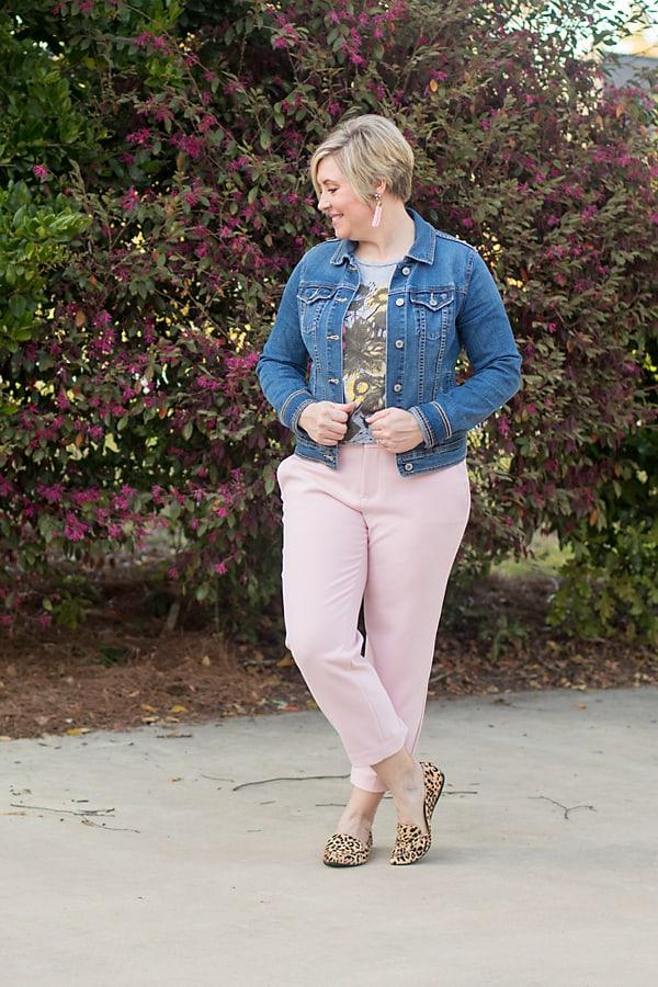 denim jacket for spring with crop pants