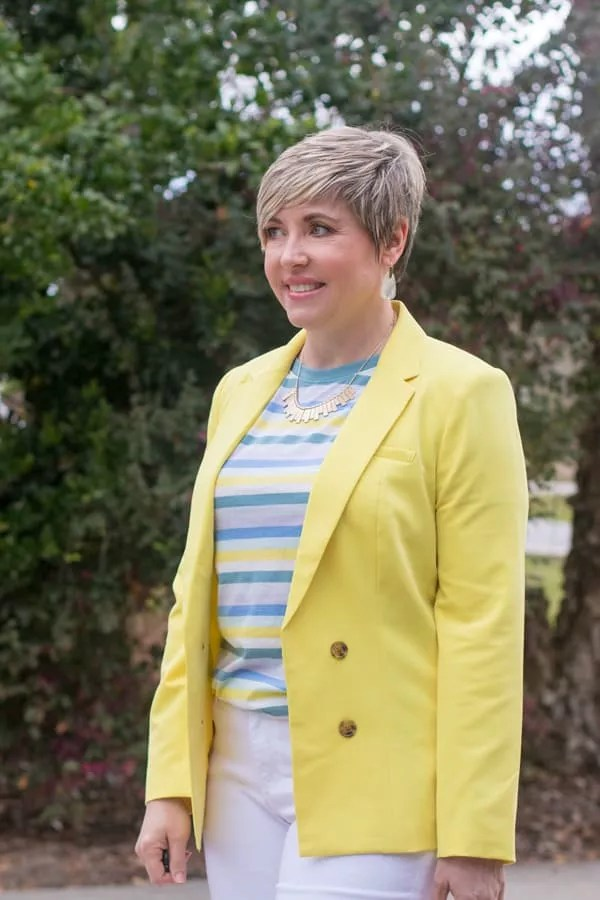 bright yellow blazer, spring outfits